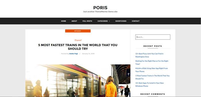 WordPress响应式博客主题:Poris