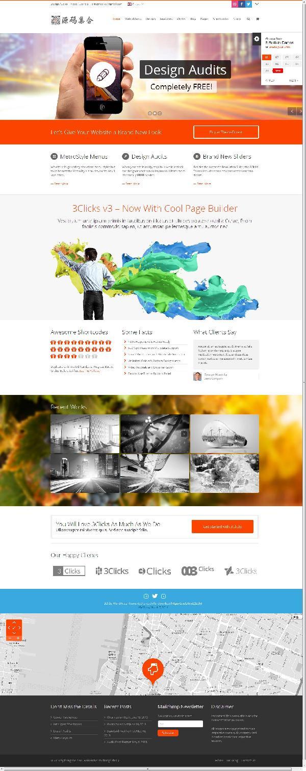 WordPress企业主题:响应式3Clicks V3.2.2汉化版主题分享
