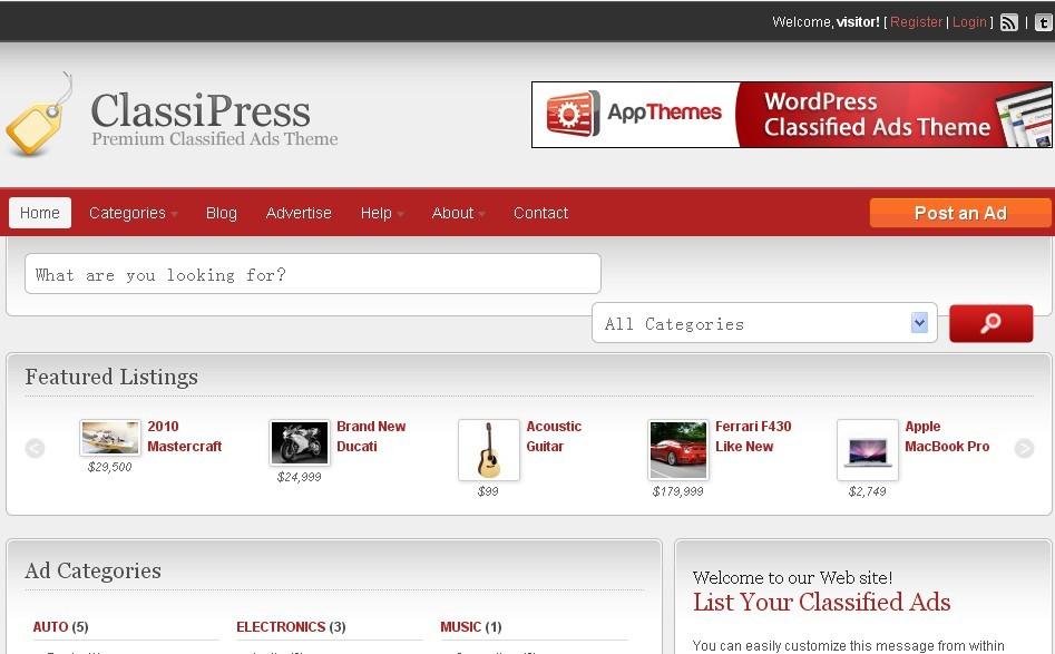 WordPress分类信息推荐类主题 – Classipress