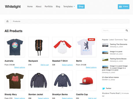 WooThemes wordpress网店主题 – Whitelight WooCommerce