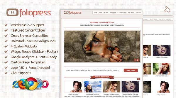清新简洁的wordpress主题 – FolioPress