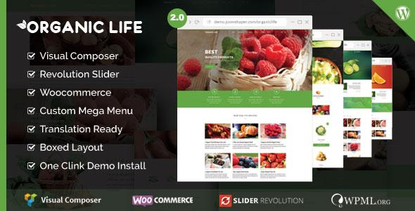 Organic Life 农业绿色有机食品 WordPress主题 v2.0