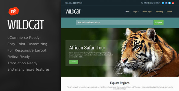 Wildcat 旅游预订 WordPress主题 v1.2