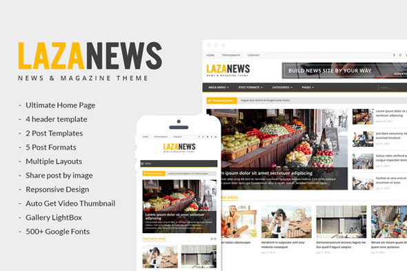 LazaNews 新闻杂志 WordPress主题