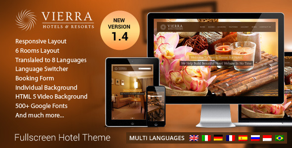 Vierra 酒店 WordPress主题 v2.0