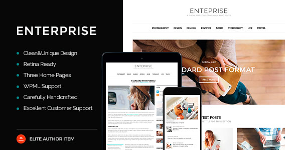 Enterprise 新闻杂志博客 WordPress主题