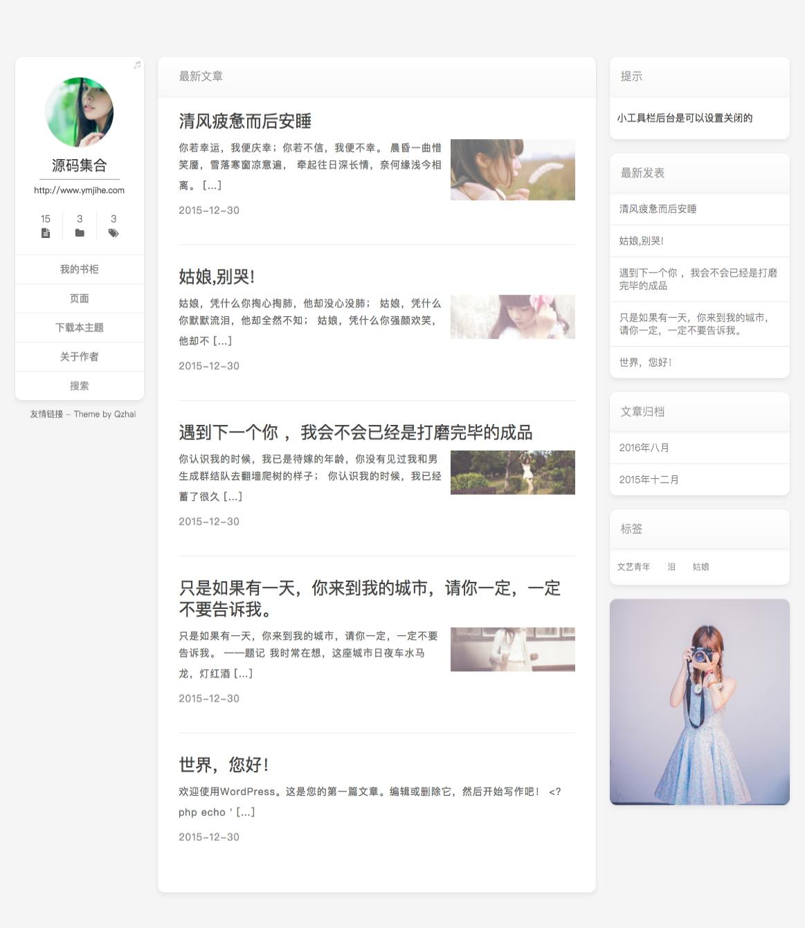 WordPress No.7 – 极简博客主题分享